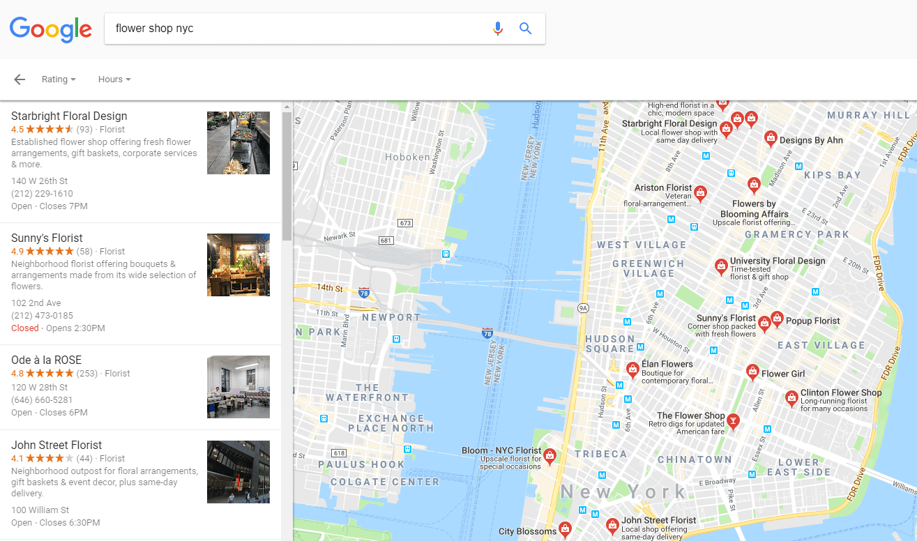 Business reviews in Google Maps