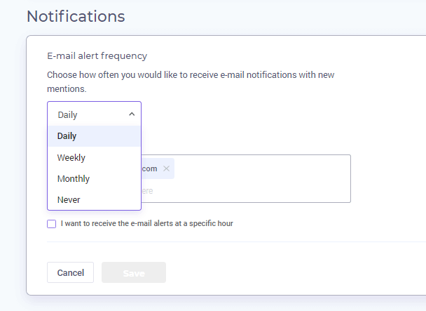 More settings - notifications