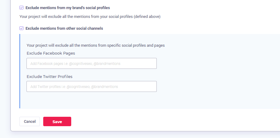 Social Accounts exclude feature