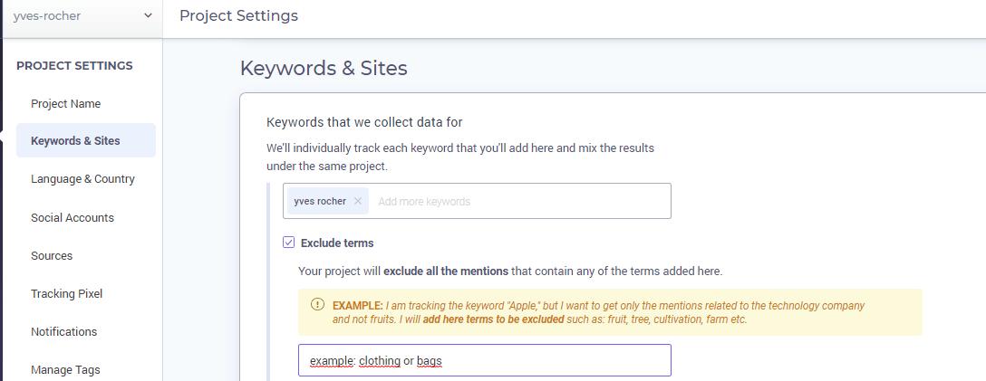 Exclude keywords